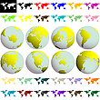 Vector clipart: earth globes and maps against white