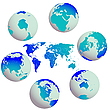 Vector clipart: earth globes and world map