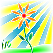 Vector clipart: flower, grass and sun