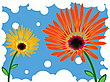 Vector clipart: flowers against blue