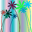 Vector clipart: flowers and stripes 2