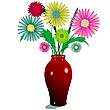 Vector clipart: flowers and vase