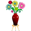 Vector clipart: flowers arrangement with wooden chair
