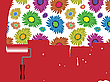 Vector clipart: flowers painted wall