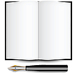 Vector clipart: fountain ink pen and open book