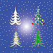 Vector clipart: four christmas trees