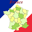 Vector clipart: france map over national colors