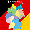 Vector clipart: germany map over national colors