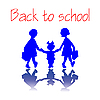 Vector clipart: back to school girls