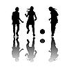 Векторный клипарт: девушки играют в футбол