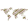 Векторный клипарт: полосатая карта мира