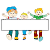 Vector clipart: happy kids cartoon with blank banner