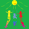 Vector clipart: happy little children playing on sunny background