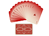 Vector clipart: hearts cards fan with deck isolated on white