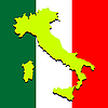 Vector clipart: italy map over national colors