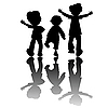 Vector clipart: kids silhouettes isolated on white