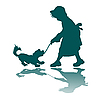 Vector clipart: little girl and dog silhouette