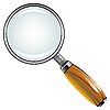 Vector clipart: magnifying glass with wooden handle