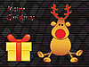 Vector clipart: moose with gift