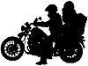 Vektor Cliparts: Silhouette Motorrad und Biker