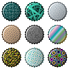 Vector clipart: nine textured bottle caps