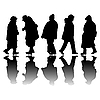 Vector clipart: old people black silhouettes