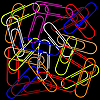 Vector clipart: paper clips on black