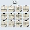 Векторный клипарт: 2011 календарь на бумаге для заметок