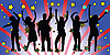 Vector clipart: party people silhouettes