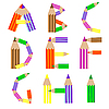 Vector clipart: pencils alphabet A-I