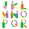 Vector clipart: pencils alphabet J-R