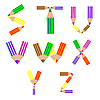 Vector clipart: pencils alphabet S-Z