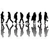 Vector clipart: people black silhouettes 2