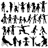 Vector clipart: people black silhouettes