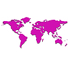Vector clipart: purple world map