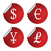 Vector clipart: red labels with international currency symbols