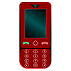 Vector clipart: red mobile phone against white