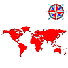 Vector clipart: red world map with wind rose