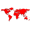 Vector clipart: red world map
