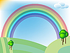 Vector clipart: retro landscape with fields and rainbow