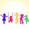 Vector clipart: retro little kids silhouettes over shiny background
