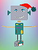 Vector clipart: robot asking for hug