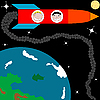 Vector clipart: rocket on the Earth orbit