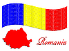 Vector clipart: romanian flag and map against white