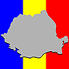 Vector clipart: romanian map over national colors