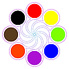 Vector clipart: round color palette with eight basic colors
