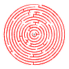 Vector clipart: round red maze against white