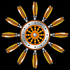 Vector clipart: ship wheel against black