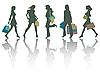 Vector clipart: shopping girls silhouettes