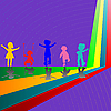 Vector clipart: silhouettes of children playing on purple background